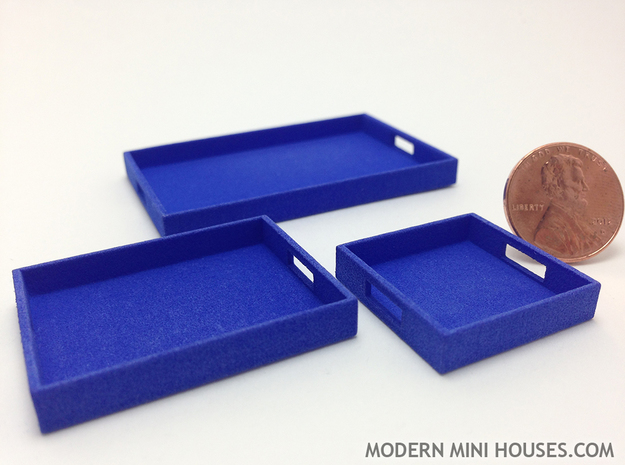 Rectangle Tray Medium 1:12 scale 3d printed Tray in back is the Medium tray in this listing.