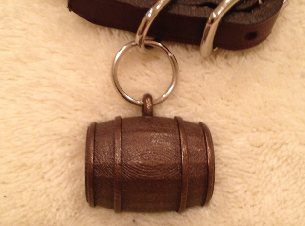 Keg / Barrel Pet Tag 3d printed Shown in optional bronze finish
