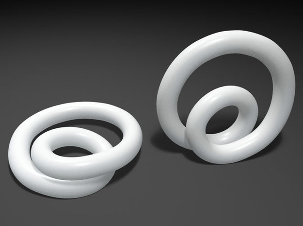 Infinite loop earring 3d printed Mental ray render