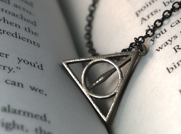 Deathly Hallows Pendant - Small - 5/8 3d printed Stainless Steel