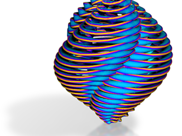 Brightly Colored Spiral Xmas Ornament, Blue, Large 3d printed
