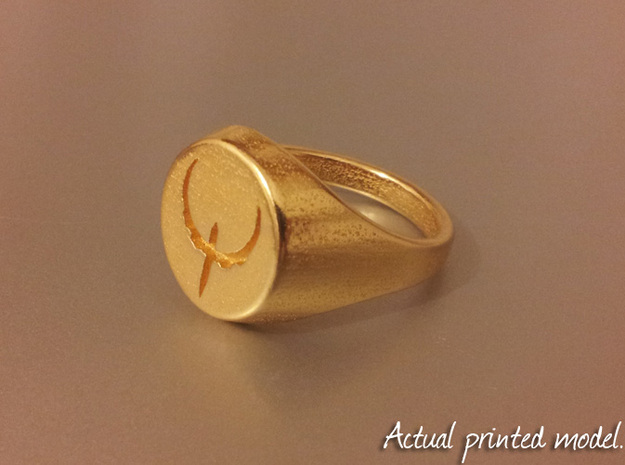 Quake Live signet ring. US size 11 1/4 UK size W 3d printed