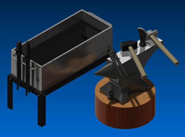 Blacksmith toolset 1:12 / Smederij set 1:12 3d printed