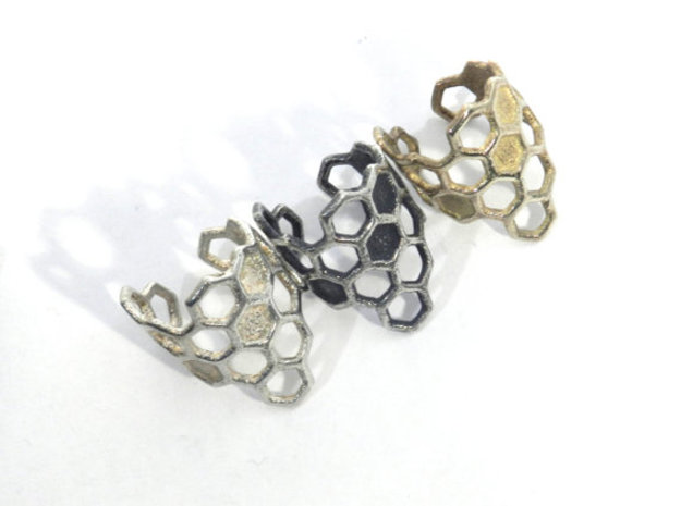 Honeycomb Ring 3d printed raw silver, oxidized silver, brass