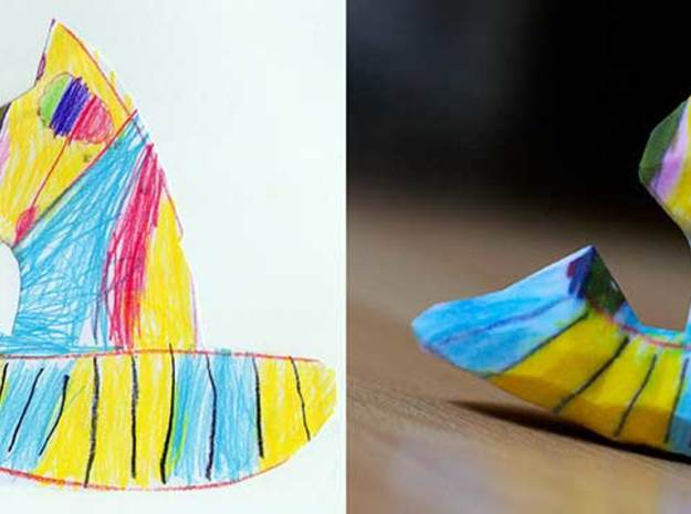 Hamster on a Speedboat 3d printed Figurines from Children's Drawings