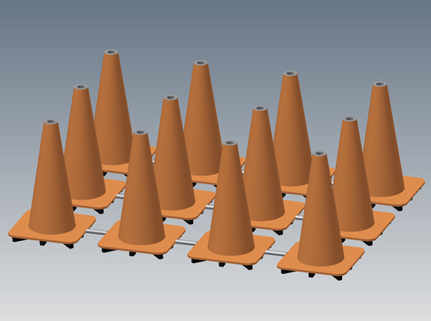 "18"" traffic cones 1/12th (12) 3d printed"