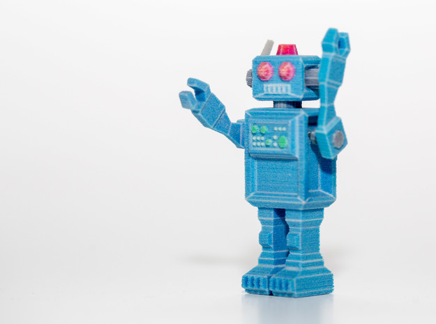 Robot Figurine in full color (posable arms + must 3d printed
