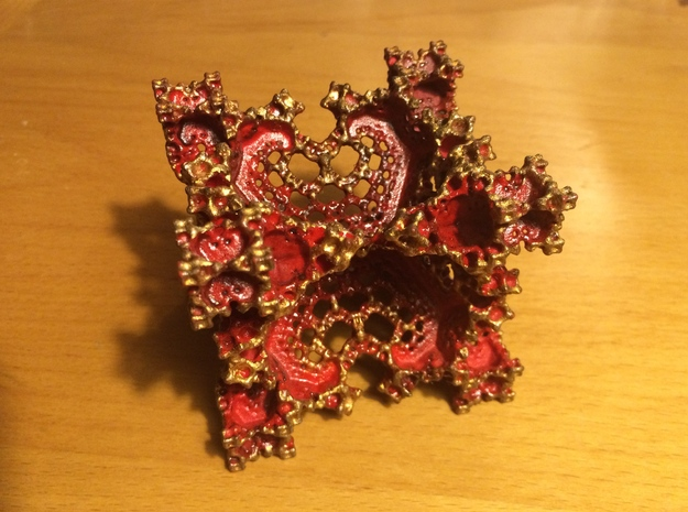 Red Fractal Flake 3d printed Manually painted model