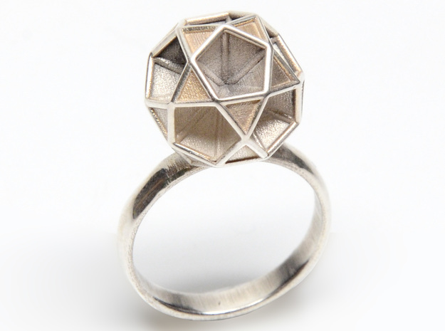 Polyhedron Ring Size 6 3d printed shown in silver