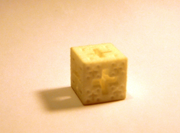 Jerusalem Cube Fractal Pendant 3d printed White Strong & Flexible