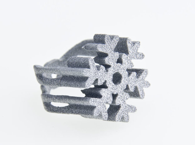 snow flake ring 3d printed