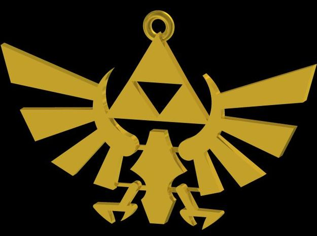 Twilight Princess Triforce Necklace 3d printed Autodesk Gold Render