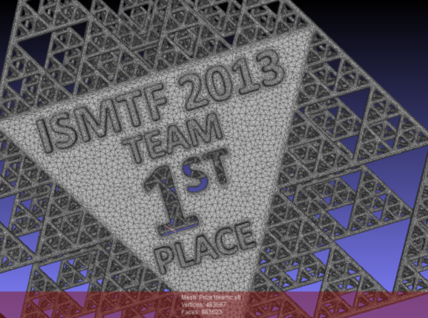 First prize for the ISMTF math competition 2013 3d printed