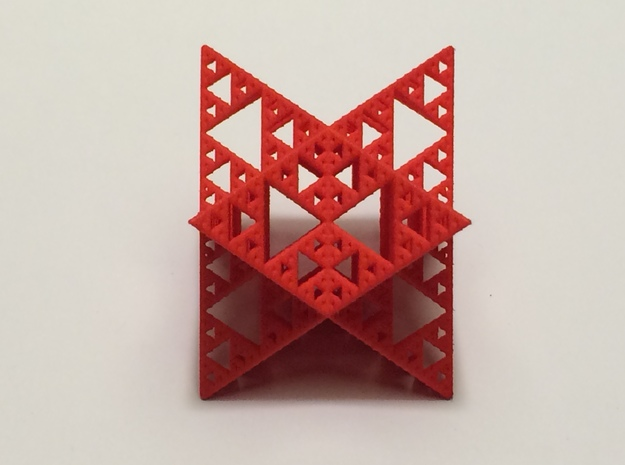 Sierpinski Octostar 3.75cm 3d printed Red Strong and Flexible Polished