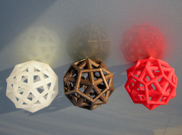 IcosoDodecahedron Thick - 3.5cm 3d printed Frosted Detail - Antique Bronze Matte - Coral Red