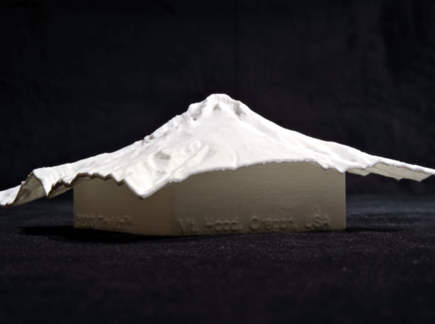 4'' Mt. Hood Terrain Model, Oregon, USA 3d printed Photo of actual model, as if taken from Mirror Lake