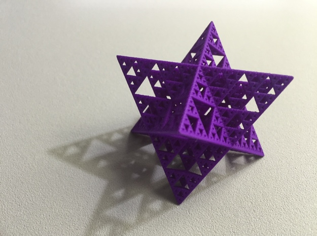 Sierpinski Octostar 3.75cm 3d printed Purple Strong and Flexible Polished