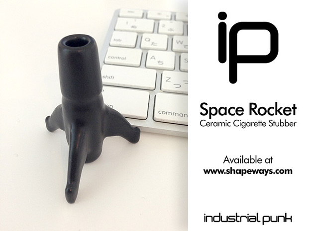 Space Rocket Cigarette Stubber 3d printed Space Rocket Cigarette Stubber in black ceramic