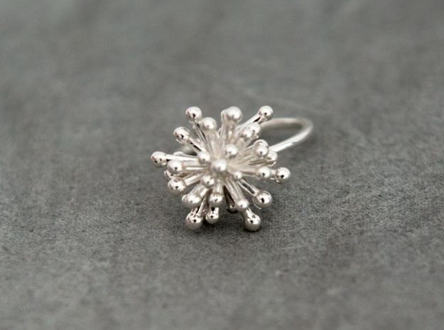 Single Starburst Ring 3d printed In Premium silver finish