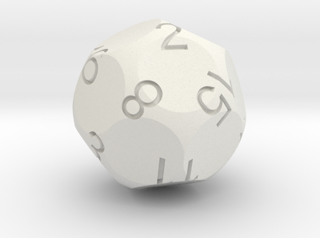 D16 Tetra Sphere Dice 3d printed CG Rendering with inked numbers