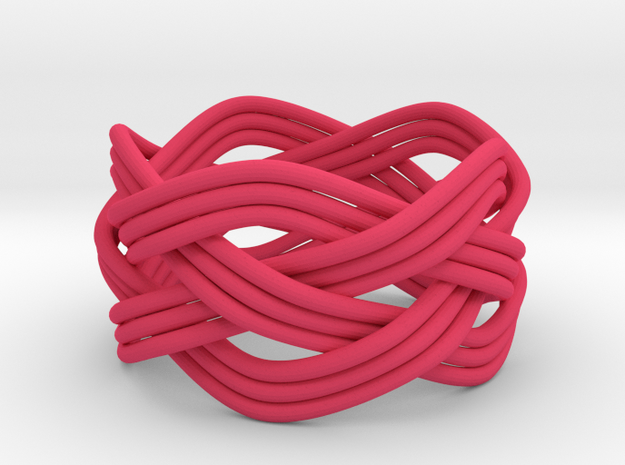Turk's Head Knot Ring 4 Part X 5 Bight - Size 7.5 3d printed