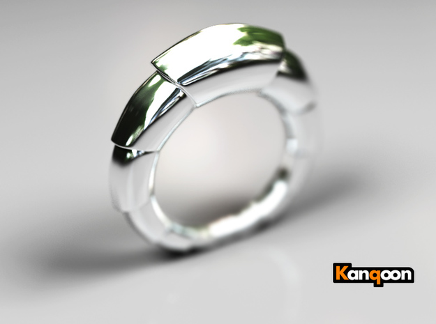 Mats - Ring - US 9 - 19 mm inside diameter 3d printed Polished Silver PREVIEW