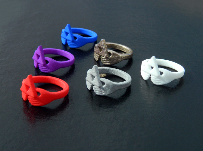 Triforce Claddagh rings in Strong & Flexible Nylon & Steel