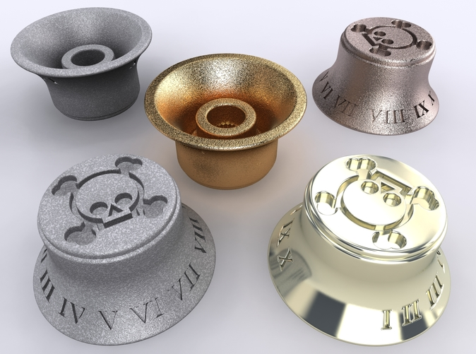 Alumide, Premium Silver, Gold Plated Matte & Stainless Steel renders