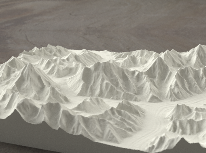 Radiance rendering from the West, looking up the Baltoro to Gasherbrum IV
