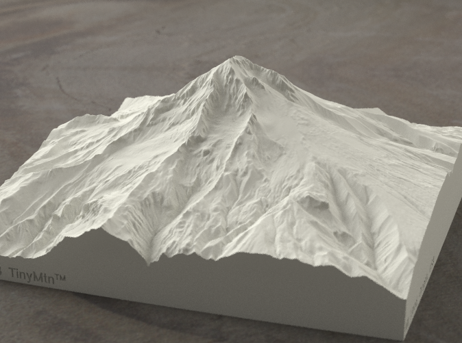 Radiance rendering of Mt Hood terrain model from the West.