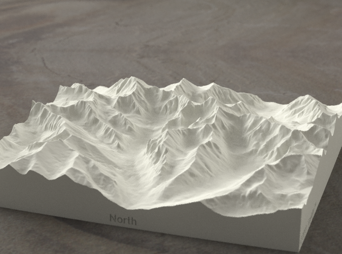 Radiance rendering of model, viewed from Poland, looking SSW