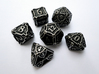 Dice Set 3d printed In stainless steel and inked.