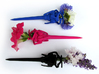 Mechanical Hairpin 3d printed In Royal Blue, Hot Pink, and Black Strong & Flexible
