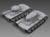 1/100 JN-129 Armament and Front Tracks 3d printed A KV-1 next to a KV tank with a small turret from the JN-129.