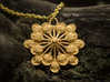 Sun Petals Pendant 3d printed Polished Gold Steel