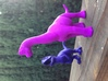 Brachiosaurus Chubbie Krentz 3d printed pictured in polished purple strong and flexible, next a royal blue Allosaurus.