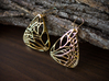 Metal Butterfly Earrings (L) 3d printed Material : Polished Brass