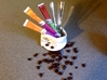 """Espresso Spoon-Holder: """"Open Handle"""" 3d printed Spoon-Holder on a Saucer (separately available) with sugar and spoons"""