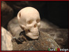 Human Skull Pendant - Skull Bead 3d printed old version (mouth closed) printed in WSF and dyed with black tea