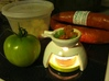 Tea Light Cooker (1 base + 1 cooker) 3d printed Tea Light cooker with Portuguese sausage, green tomatoes, and garlic. (old handles)
