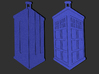 Dr Who Logo Pendant 3d printed Render showing front and back.