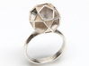 Polyhedron Ring Size 8 3d printed shown in silver
