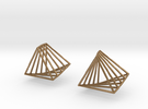 Rotating triangle earrings in Raw Brass