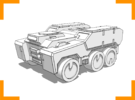'Broadside' Armored Truck 6mm in White Strong & Flexible