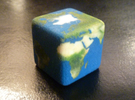 Cube Planet : Earth, 1 inch in Full Color Sandstone