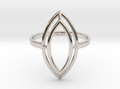 Marquise Simple Wire Ring - US Size 08 in Rhodium Plated