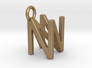 Two way letter pendant - NN N in Matte Gold Steel
