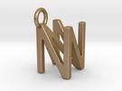 Two way letter pendant - NN N in Matte Gold Steel