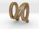 Two way letter pendant - NQ QN in Matte Gold Steel