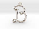 B Initial Charm in Rhodium Plated
